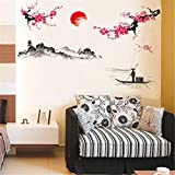 Vovotrade Creative Classique Style Chinois Peinture l'encre Stickers Muraux Décoratifs Peach Classical Chinese Style Ink Painting Decorative Wall Stickers (Multicolor)