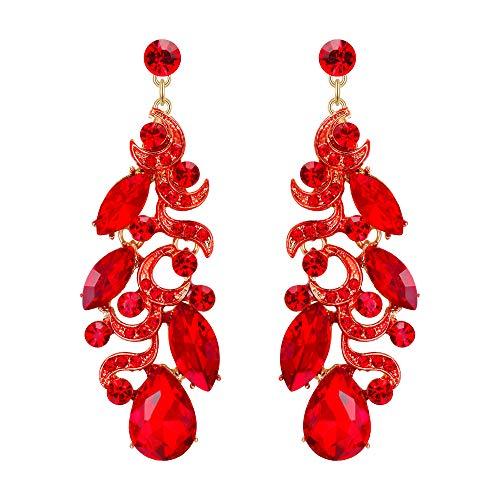 EVER FAITH Damen Kristall Party Floral Leaf Vine Teardrop Braut durchbohrt baumeln Ohrringe rot Silber-Ton