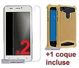 CAMPUS TELECOM 2 Films Vitre Verre Trempé de protection ecran + 1 coque gel silicone OR GOLD incassable UNIVERSEL LOGICOM VR 552 L-EMENT 553 + plus L-EMENT 553 M bot 551 (5.5'' pouces)