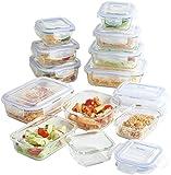 VonShef 12 Piece Glass Container Food Storage Set with Lids, Free 2 Year Warranty