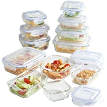 VonShef Set de 12 Recipientes Herméticos de Vidrio para Alimentos con Tapa