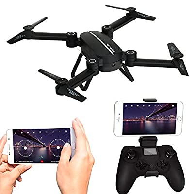 Kingtoys 8807W WIFI FPV RC Drone Quadcopter Foldable Drones with 720P HD Camera Live Video APP Control Drone 2.4GHz 4CH 6-Axis Gyro Remote Control Camera Drone with Altitude Hold, Gravity Sensor and Headless Mode Function