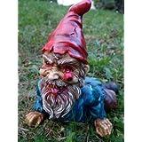 Nain de jardin zombie allongé figurine nain de jardin