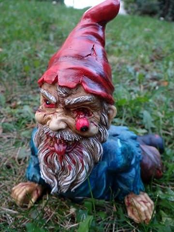 Zombie Zwerg liegend Gartenzwerg Garten Figur