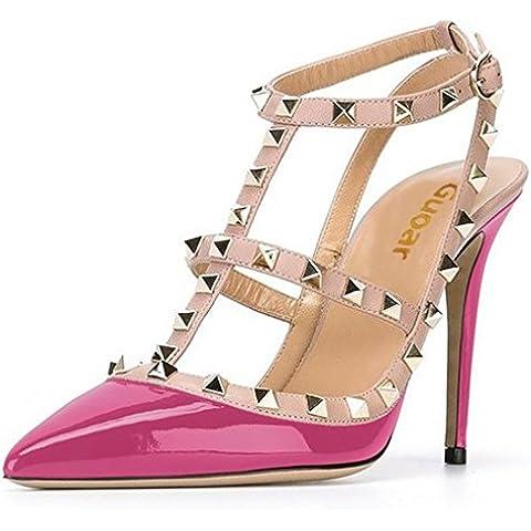 Sandalia Zapatos Tachonado Atractivas Del Dedo Pie Puntiagudo Pico De Talón Alto Talón Bombea Para Mujer