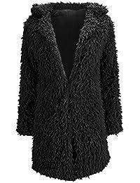 Tongshi Abrigos y chaquetas larga de piel falsa Parka cálida de las mujeres