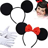 German Trendseller® - Minnie Maus Ohren + Schleife ┃ Kostüm ┃ Mäuschen Ohren ┃ Werden Sie zur Minnie Maus ✔ -