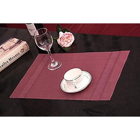 Clest F&H trenzado Silk Wine red PVC Mantel individual / Salvamanteles para comedor , Juego de 2 piezas 45 x 30 cm