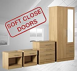 Fairpak Zilato 4 Piece Mirrored Bedroom Furniture Set - 3 Drawer Wardrobe, 4 Drawer Chest, 2x 1 Drawer Bedside Cabinet (Oak)