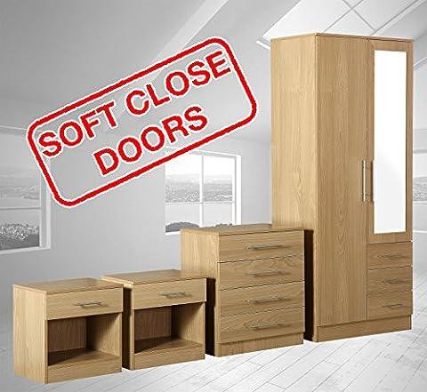 Zilato 4 Piece Mirrored Bedroom Furniture Set - 3 Drawer Wardrobe, 4 Drawer Chest, 2x 1 Drawer Bedside Cabinet