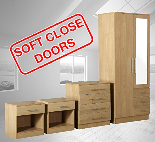 Zilato 4 Piece Mirrored Bedroom Furniture Set - 3 Drawer Wardrobe, 4 Drawer Chest, 2x 1 Drawer Bedside Cabinet (Oak)