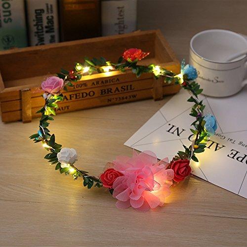 5Farbe Optional LED Blumen Kranz Stirnband