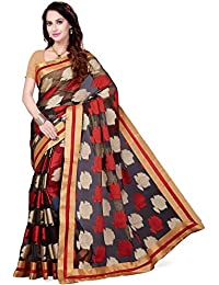 Ishin Art Silk Saree With Blouse Piece(Ishinhd-32005_Black Free Size)