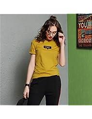 Heart&M Ronda de cuello jersey de manga corta de las mujeres de color sólido ocasional Cartas borde enrollado camiseta tops . l . yellow