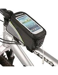 ZXK CO 5.5''Pulgadas Alforja Bolsa Móvil,Bolsa para Manillar Con PVC Pantalla Táctil Sensible Impermeable Delantera de Bicicleta Bolso del Tubo para el iPhone 6 Plus Galaxy S6/S7 Huawei P8 Lite 5.5 pulgadas Móvil-Negro y Verde