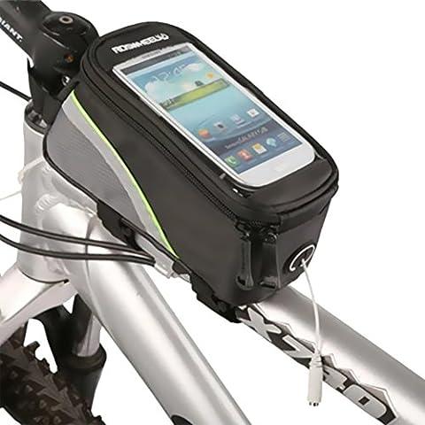 ZXK CO 5.5''Pulgadas Alforja Bolsa Móvil,Bolsa para Manillar Con PVC Pantalla Táctil Sensible Impermeable Delantera de Bicicleta Bolso del Tubo para el iPhone 6 Plus Galaxy S6/S7 Huawei P8 Lite 5.5 pulgadas Móvil-Negro y