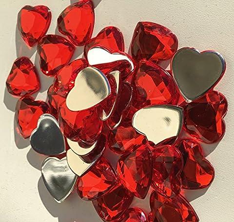120Pièces glitzernde strass Décoration cœur rouge 20mm bricolage gltzer pierres Bijoux Pierres Strass pour décorer Décoration Amour de Crystal King