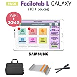 Facilotab Pack L Galaxy 10,1p WiFi/4G - 32 Go - Android 7 + Support + Sacoche + 2 Stylets (Tablette simplifiée pour Seniors)