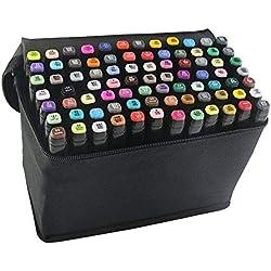 Beetest Rotuladores,Prismacolor【80 PCS Color】 Pintura Arte gráfico Twin Nib Alcohol A Base de Tinta Pen Marker Point Pen Set con Bolsa de Almacenamiento Negro