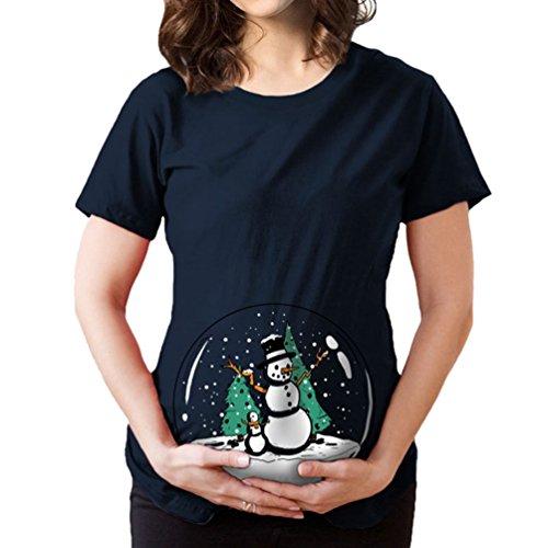 Binhee donna round collo camicia manica corta gravidanza t-shirts palla di cristallo pupazzo di neve