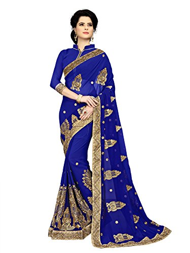Radadiyatrd Cotton Silk Saree With Blouse Piece (Sargam_Blue_Blue_Free Size)