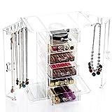 Schmuckkasten aus Acryl Schmuckaufbewahrung mit 6 Fächern und 2 Seitentüren mit Kettenhaken Kosmetik Aufbewahrungsbox von der Marke MyBeautyworld24