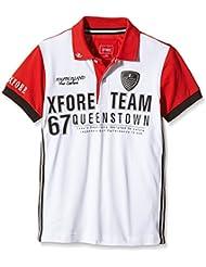 XFORE Camiseta polo de golf técnica en color blanco, bordado para niños con mangas cortas en rojo