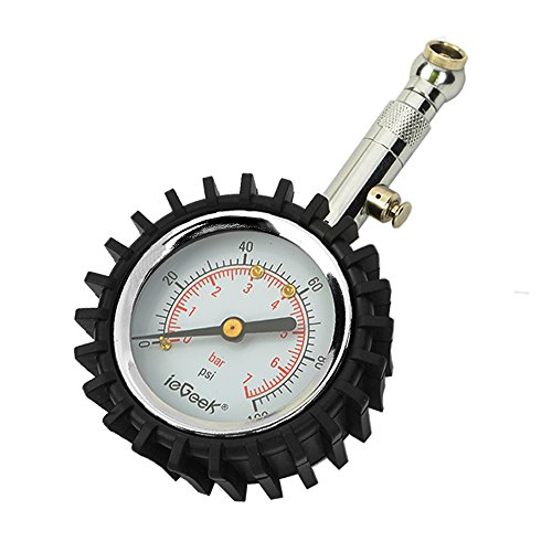 ieGeek Auto Tragbarer Reifendruckprüfer Manometer Reifendruckmesser Tester Meter mit 360°drehbares Kugelgelenk