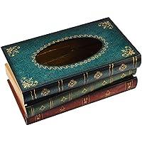 Hipsteen Creativo Retro Libro Classico Forma Legno Tessuto Casella Stile Europeo Tessuto Tovagliolo Scatola Napkin Casella - Blu - Libro Blu Tovagliolo