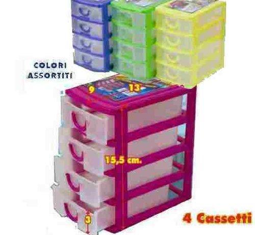 Cassettiere In Plastica Per Minuterie.Cassettiera In Plastica Porta Minuteria Con 4 Cassetti Per La Casa Per Hobby E Per L Ufficio Colori Assortiti