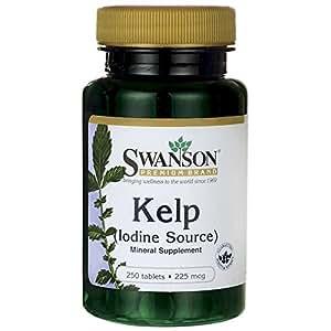 Swanson - Kelp (Iode 225mcg) 250 comprimés - EXTRAIT Naturel de Kelp d'Atlantique (Ascophyllum Nodosum, Goémon Noir) - NORMALISÉ 0,4% Iode - Grande Algue Marine Brune de la Famile VARECH - Complément Alimentaire Bio-Actif Stable pour Thyroïde (Atlantic Sea Kelp tablets - Natural Iodine Source Supplement)