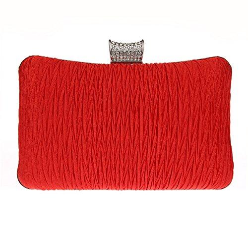 AnKoee Donna Pochette Borsa Sacchetto Borsetta Da Sera Borsa Diamante Portafoglio Frizioni Borsa da Sposa (Viola) Rosso