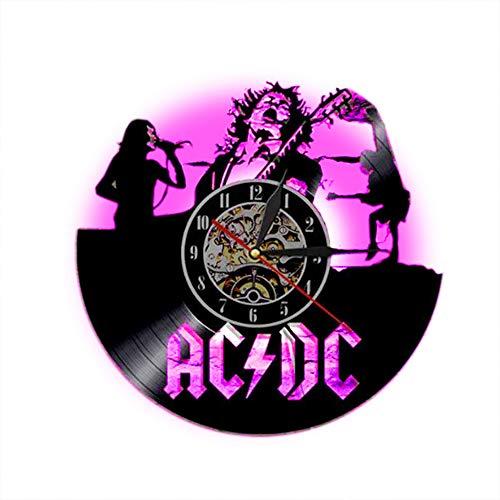 Meet Beauty ACDC Rock Band Wand Vinyl Uhr LED Wand Beleuchtung Farbwechsel Vintage LP Record Decor...