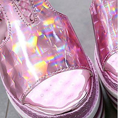 LvYuan Da donna Sandali PU (Poliuretano) Estate Casual Perle Zeppa Argento Blu Rosa 5 - 7 cm blushing pink