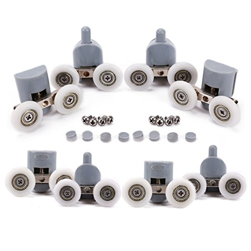 8pcs double twintop bottom shower door rollers runners pulleys wheels bathroom replacement parts 25mm diameter
