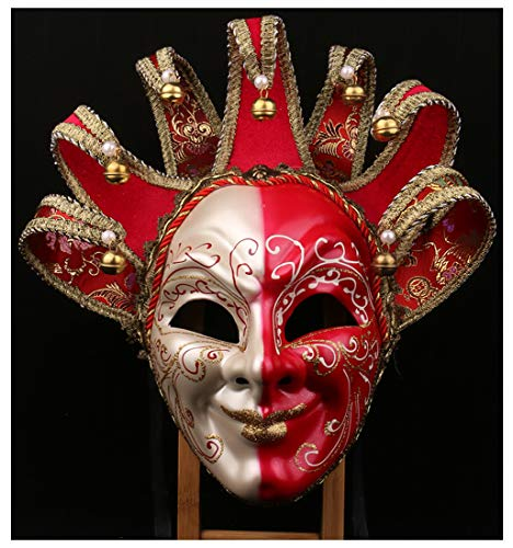 Karneval Orleans New Kostüm - YUFENG New Orleans Mardi Gras Schwarz Weiß Bell Maske Jester Kostüm Paraden Karneval Ball Rot
