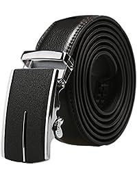 """sourcingmap Men Automatic Buckle Ratchet Large Business Dress Leather Belt Width 1 3/8"""""""