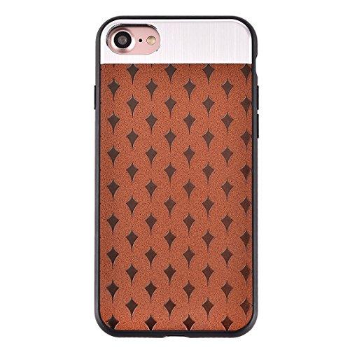 IPhone 7 Fall Blumen-Beschaffenheit Metall + PU-lederner Oberflächenschutz-Fall-rückseitige Abdeckung für iPhone 7 Fall by diebelleu ( Color : Coffee ) Coffee