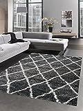 Carpetia Shaggy Teppich Wohnzimmerteppich Hochflor Langflor Rauten grau Creme Größe 120x170 cm