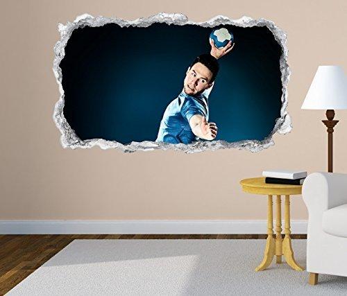 3D Wandtattoo Handball Sprungwurf Wurf Spieler Wand Aufkleber Durchbruch Stein selbstklebend Wandbild Wandsticker 11N313, Wandbild Größe F:ca. 140cmx82cm