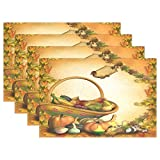 Use7 Vintage Thanksgiving Tischset aus Ahornholz, 30,5 x 45,7 cm, Polyester Tischset für Küche und Esszimmer, Polyester, Multi, Package Quantity: 4
