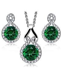 c5581959106 Crystalline Azuria Women 18 ct White Gold Plated Round Green Simulated  Emerald Zirconia Crystals Set Pendant