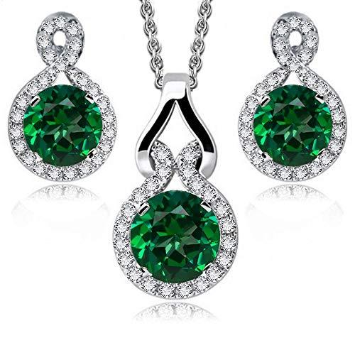 Rund Grüner simulierter Smaragd Österreichische Zirkonia Kristalle Schmuck-Set Halskette Anhänger 45 cm Ohrringe 18 kt Weiß Vergoldet