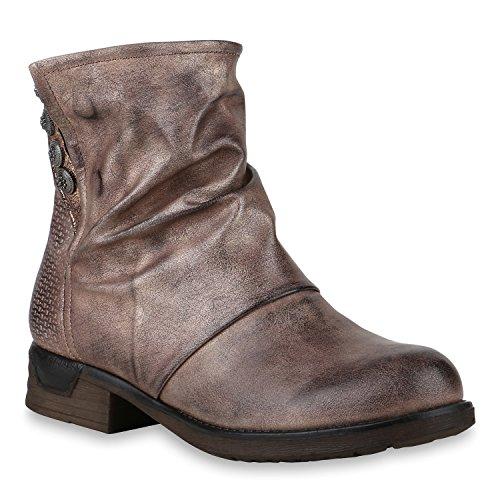 Leicht Gefütterte Damen Schuhe Biker Boots Metallic Stiefeletten Nieten 147497 Bronze 36 Flandell -