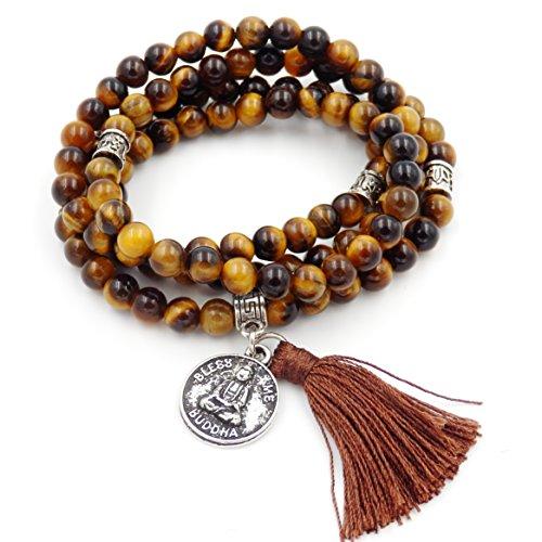 mala perlen Armband, buddhistische gebetsperlen, Lappen Armband, Buddha weniger Mich erklärung Halskette (Tiger - Augen Stein)