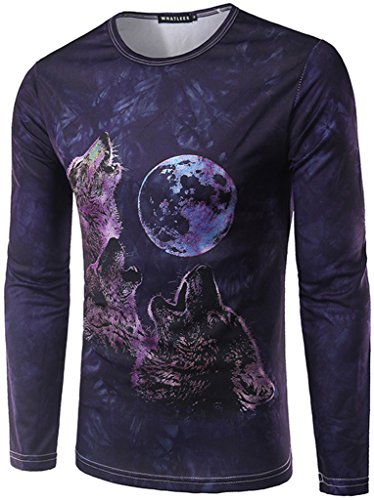 whatlees-mens-t-shirt-with-long-sleeves-black-wolf-pattern-month-pattern-slim-comfortable-slim-ultra