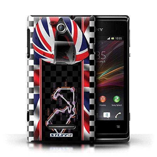 Kobalt® Imprimé Etui / Coque pour Sony Xperia E / AbuDhabi conception / Série F1 Piste Drapeau UK/Silverstone