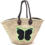 FISH IN THE SEA Korbtasche Strandtasche Schmetterling Boho Ibiza Lederhenkel Mint/Schwarz Paillette