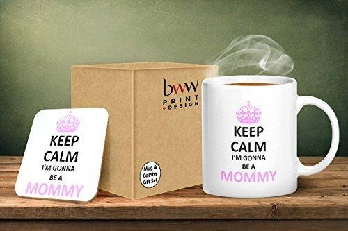 Keep calm i' m gonna be a mommy tazza e sottobicchiere abbinati–stampato tazza & sottobicchiere set regalo