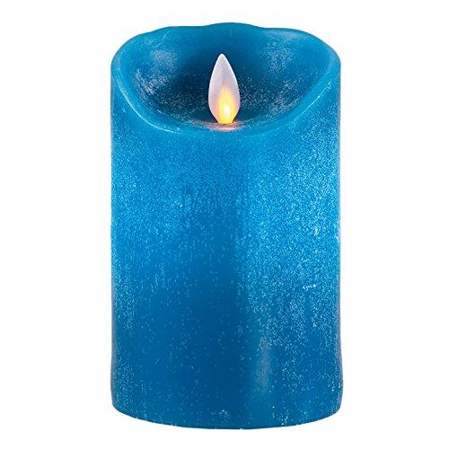 Sompex Flame Vela Led, Vela Eléctrica , Cera Auténtica, Manejable remotamente con Timer, 8 x 12.5 cm, Petrol, 36500